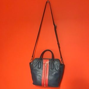 Marc Jacobs leather satchel blue and red